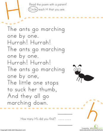 Letter H Worksheets Poem: Find the Letter H  The Ants Go Marching   Count  Ants and Songs,