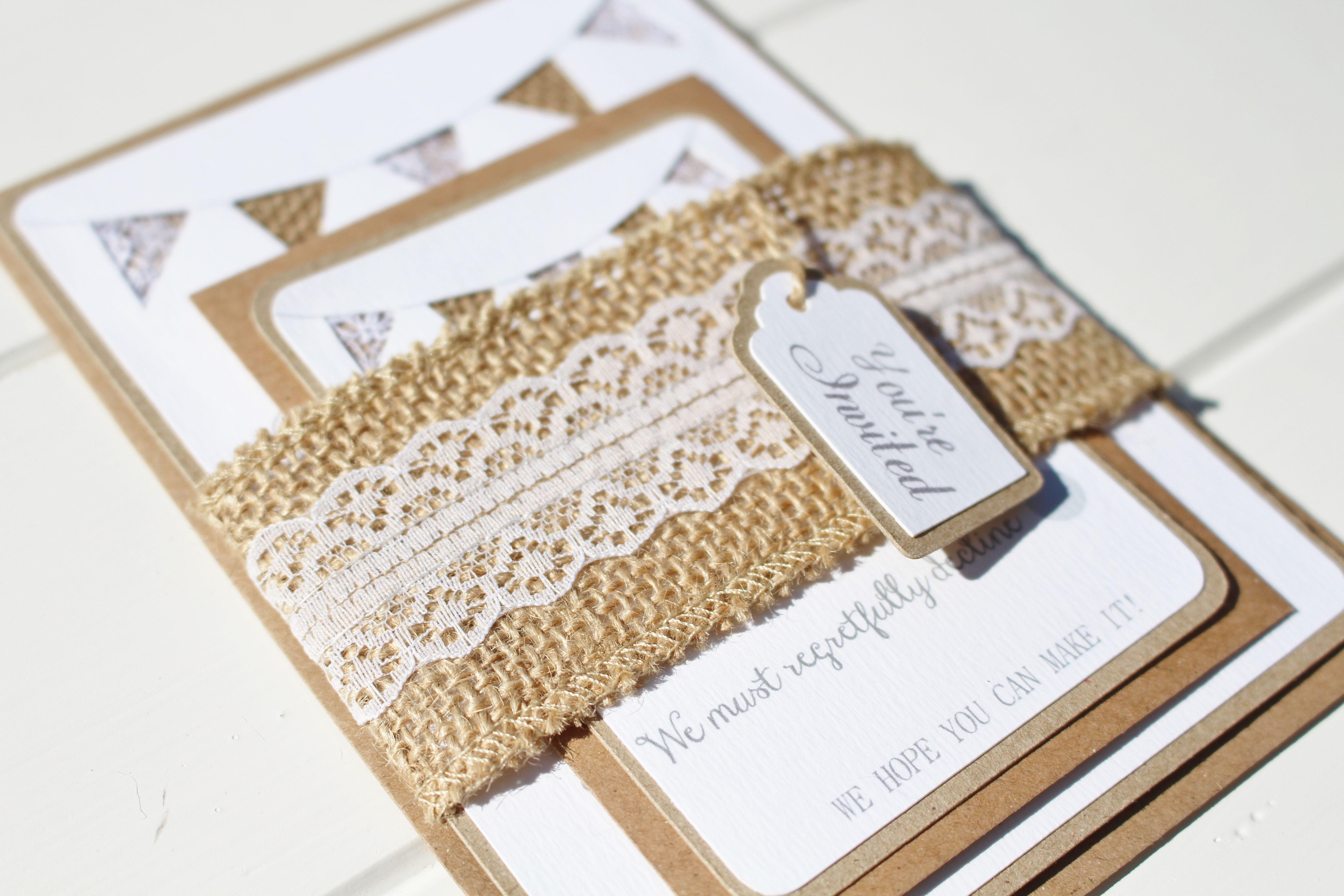 Rustic lace and hessian bunting wedding invitation | Etsy Wedding ...