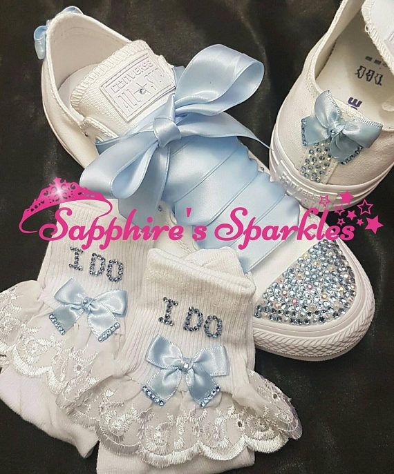 b6a6b0e463d9 Sapphires Sparkles Adults Bridal Converse All Sizes Available  ) Blue  Ribbon And Matching Back Bows