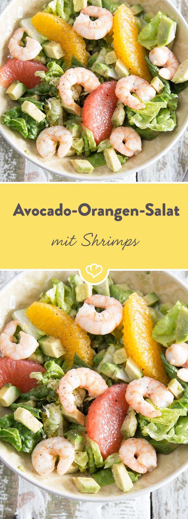 Würzige Shrimps und cremige Avocado werden gemeinsam mit knackigen Salatherzen, herben Grapefruits und fruchtigen Orangen, zu einem spritzigen Salat. #shrimpscampi