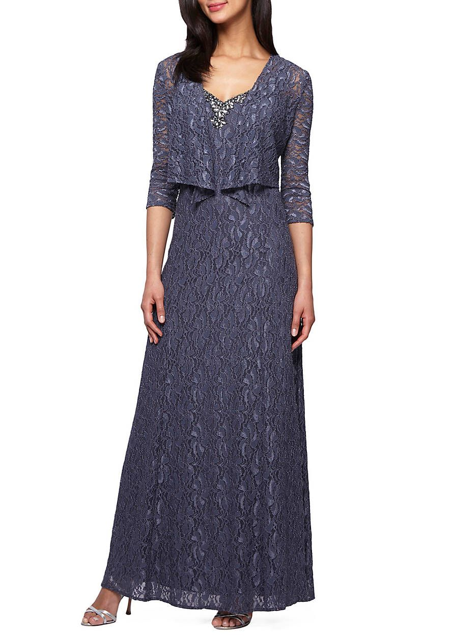 Bead Embellished Lace Gown with Jacket