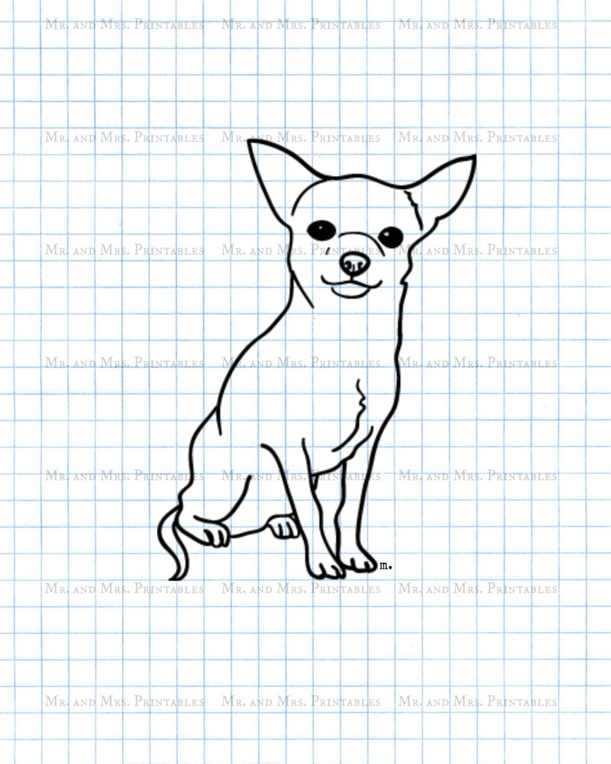 Chihuahua Clipart Stamp Coloring Page Digital Image Sticker Image Instant Download Animal Dog Nature Chihuahua Drawing Line Art Drawings Animal Drawings [ 1500 x 1200 Pixel ]