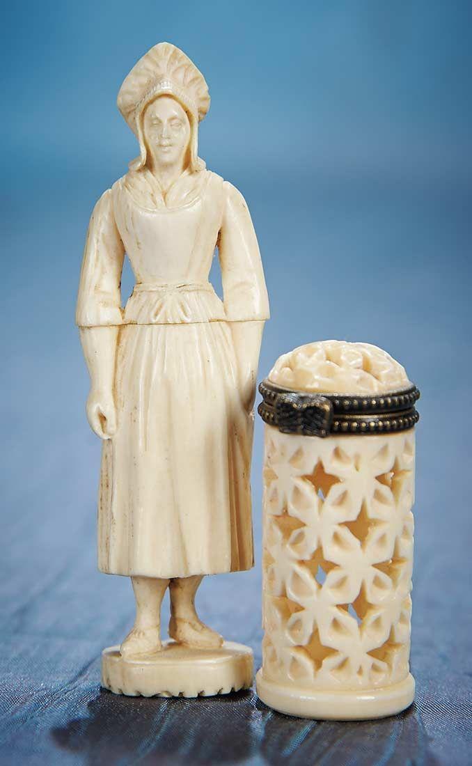 Ivory Needle Cases (Etui) French 1840