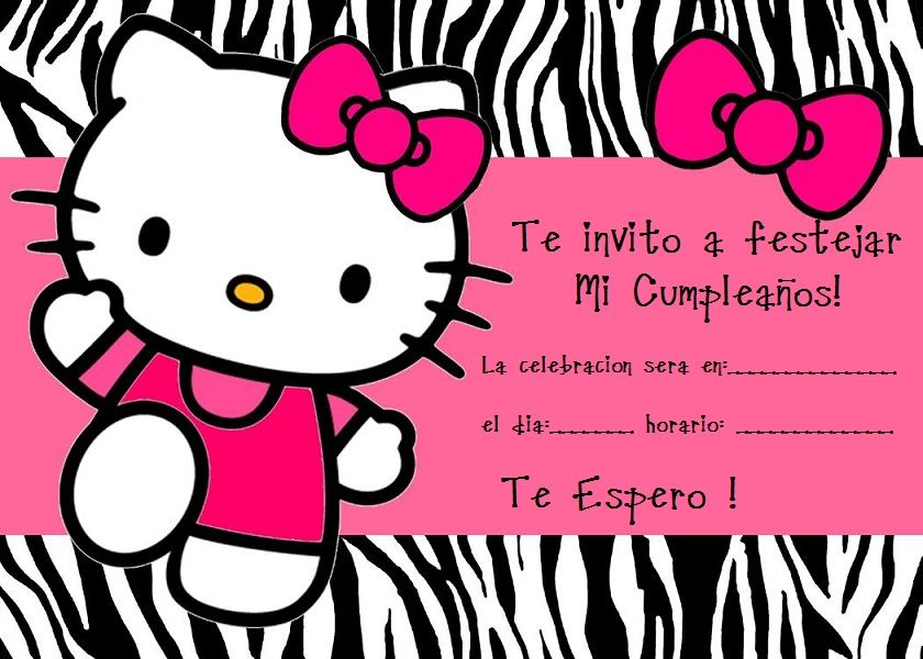 Tarjetas De Invitacion De Cumpleaños Kitty En Hd Gratis 2 Hd