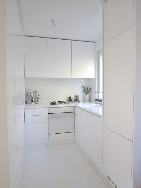 All white small kitchen, would add a little colour or sparkle but