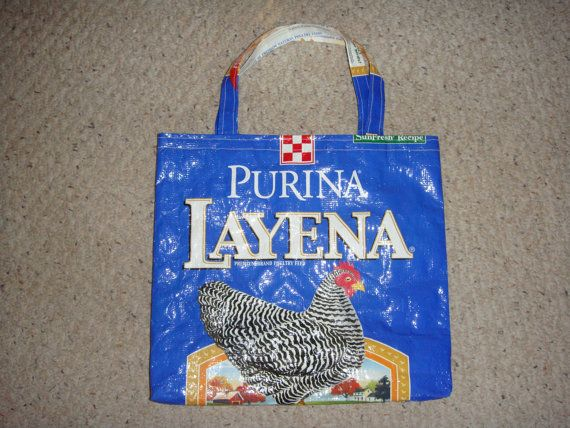 Upcycled Blue Purina Layena Chicken Feed Bag Market Tote. $11.50, via Etsy.