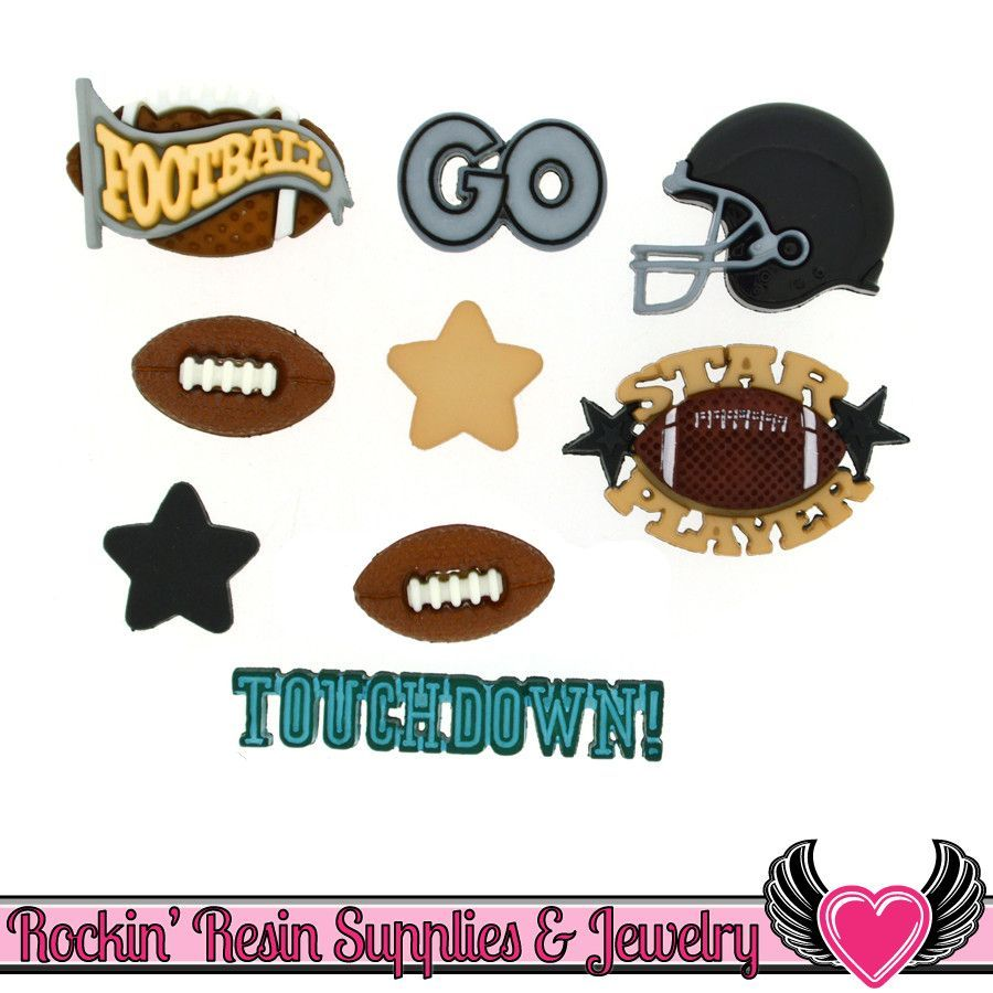 Jesse James Buttons 10pc FOOTBALL Buttons and Flatback Cabochon Embellishment