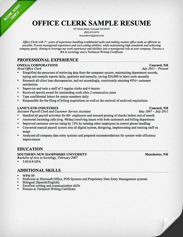 Office Clerk Resume Sample Download this resume sample to use as - Clerical Resume Examples