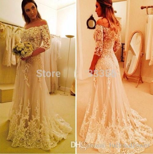 Bridal Shower Dresses 2017 Vintage Off The Shoulder Beach Wedding A Line Gowns 3 4 Sleeves Liques Sweep Train Custom Summer