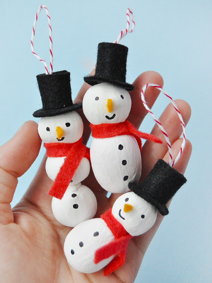 Painted Nut Ornaments Diy snowman, Snowman ornaments