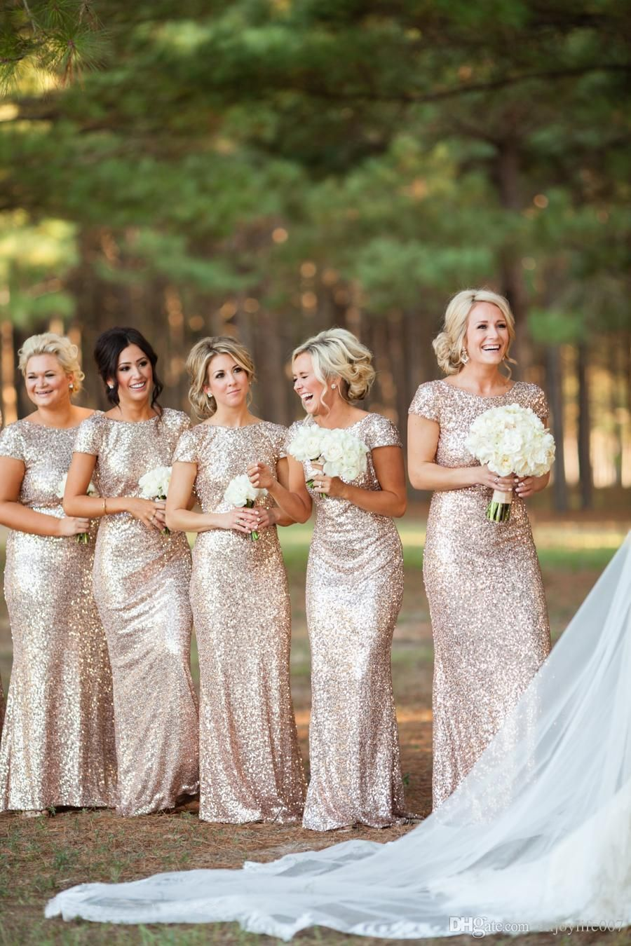 Sparkly rose gold cheap mermaid bridesmaid dresses short