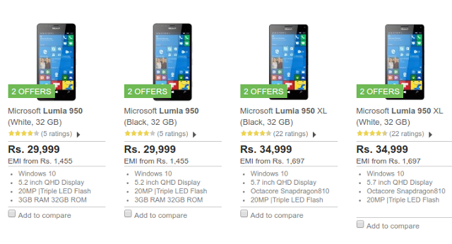 Offer on Microsoft Lumia 950 and 950XL on Flipkart and