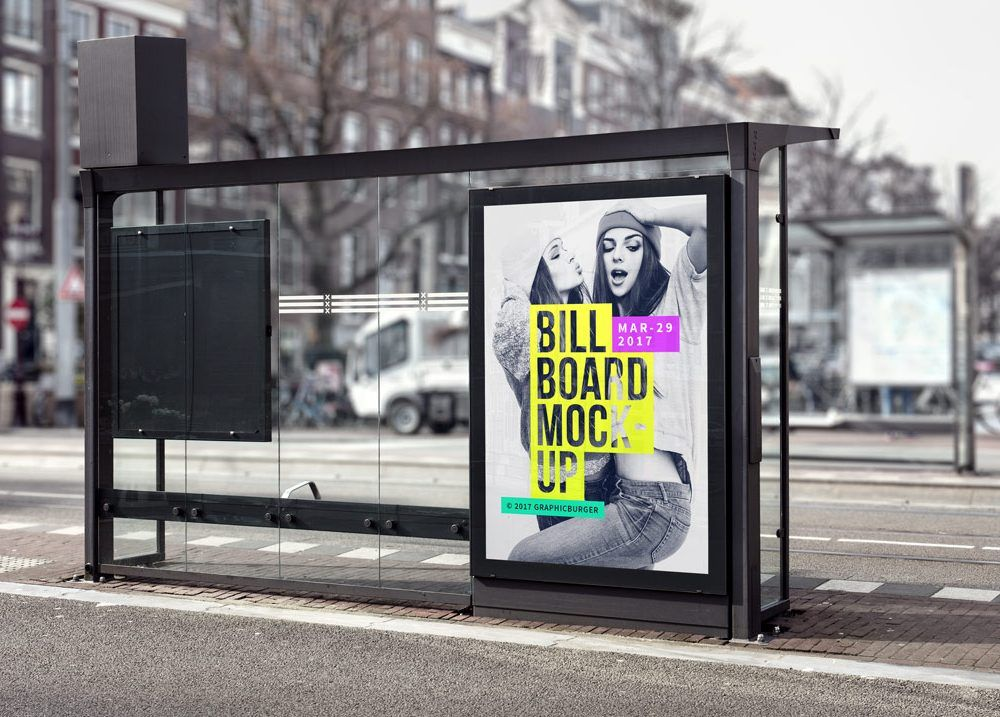 Billboard Mockupworld Billboard Mockup Bus Stop Mockup Psd