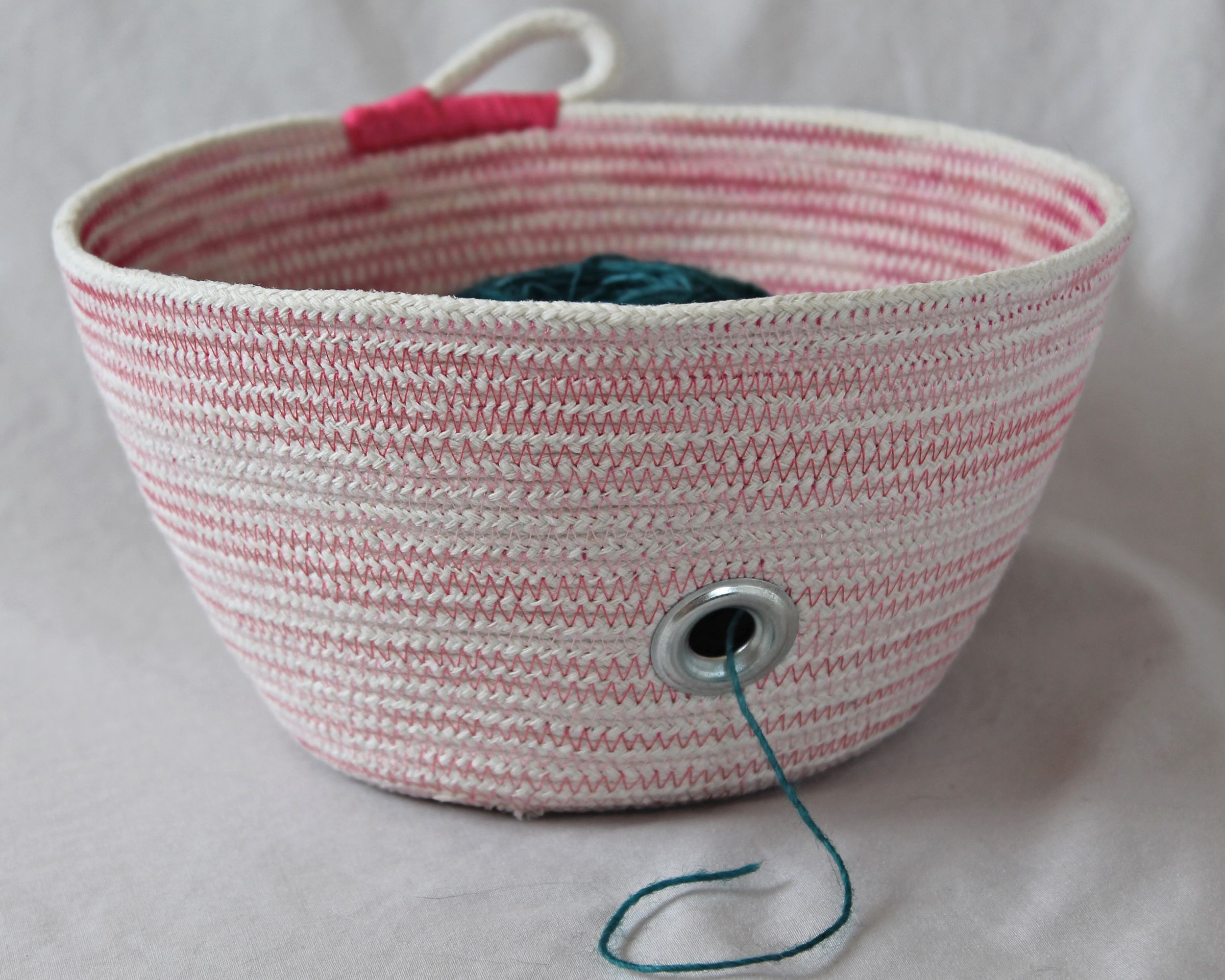 Baskets measured and slow coiled fabric basket