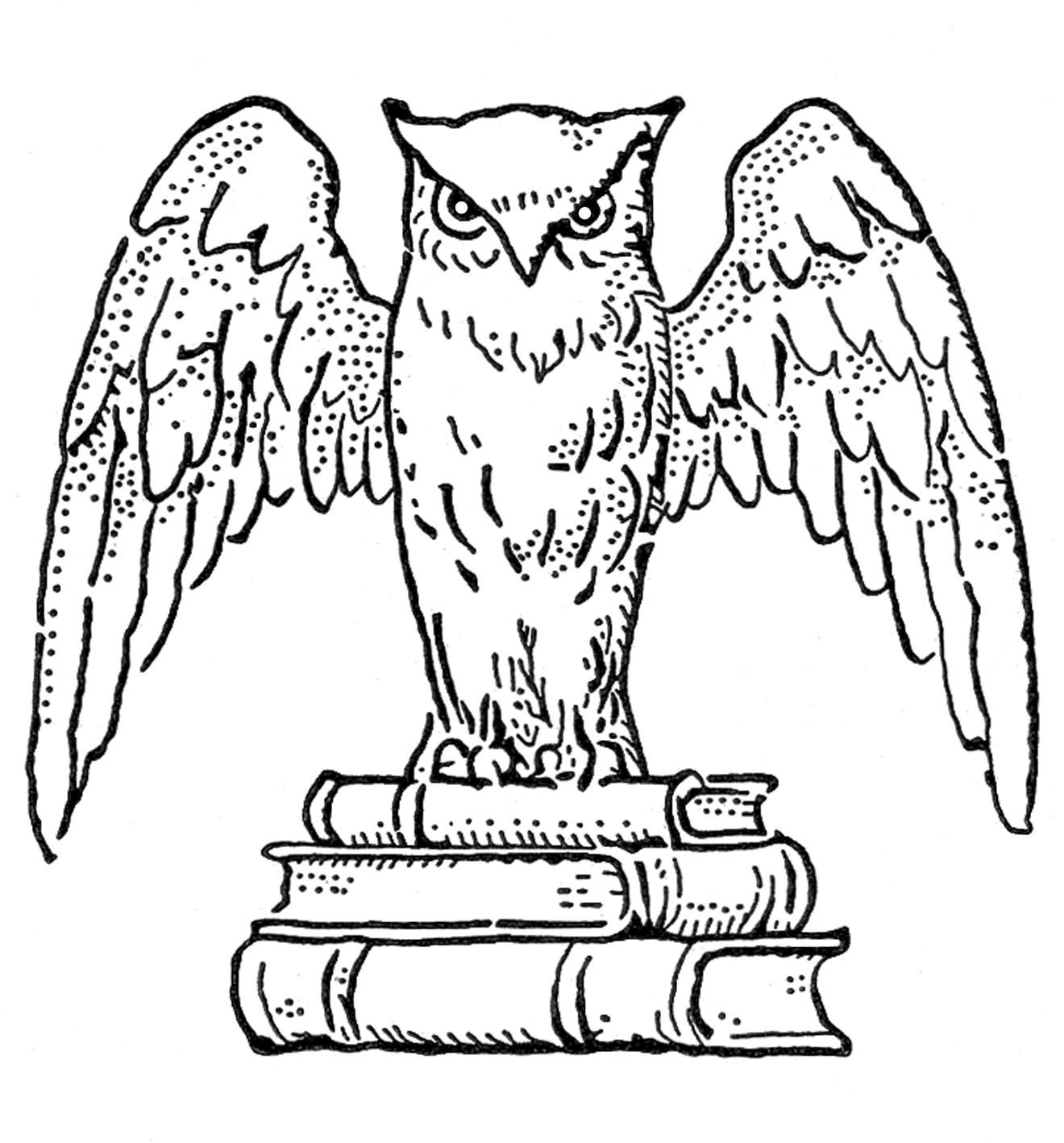 Vintage Clip Art - Interesting Owl with Books - The Graphics Fairy