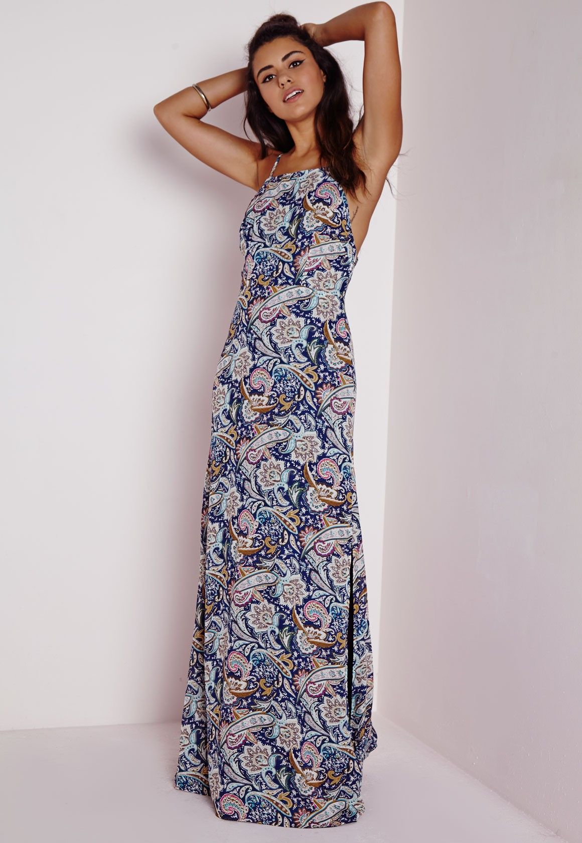 a1a141141fd8 Missguided - Cross Back Side Split Maxi Dress Navy Paisley Print ...