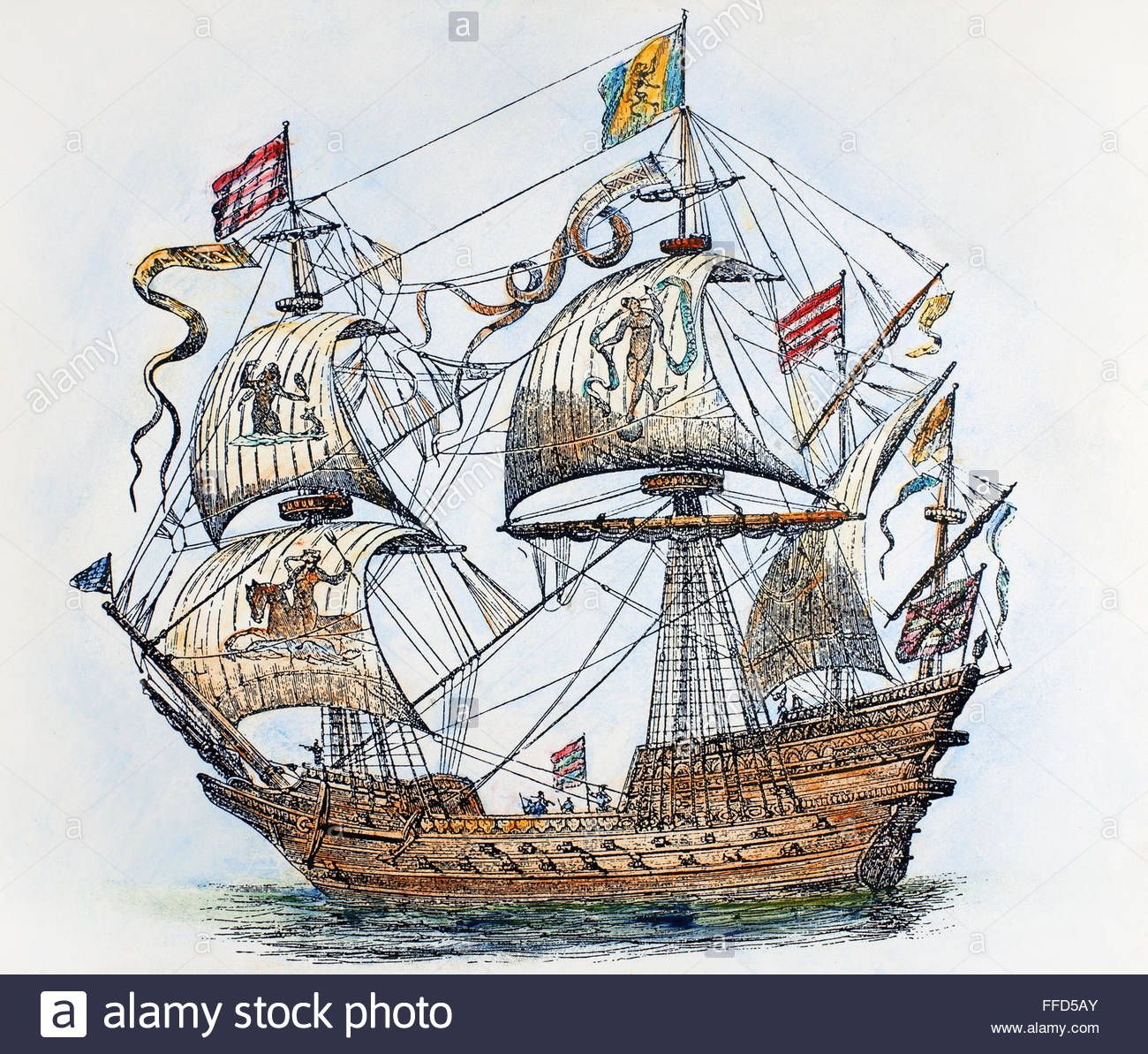 the dragon devouring the companions of cadmus artist hendrick this stock image spanish galleon na galleon from the spanish armada of wood engraving century after a contemporary drawing