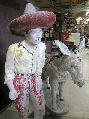 Large 1950s, Burro Man, Mexican, Lawn Garden Cement Statue | EBay