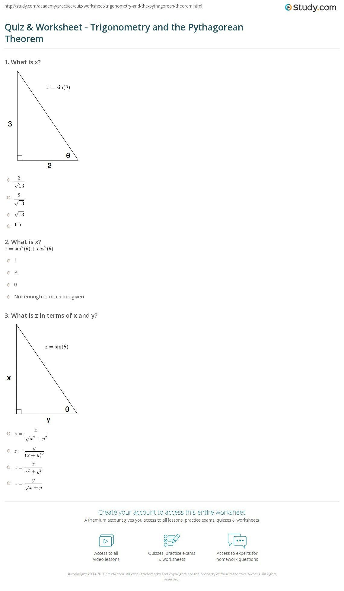 The Pythagorean Theorem Worksheet Quiz Amp Worksheet