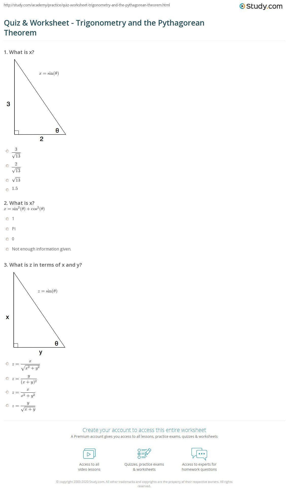 The Pythagorean theorem Worksheet Quiz & Worksheet
