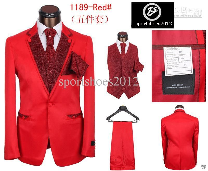 New Men's Red suit Gentleman Advanced dress 5 pieces/set Silk ...