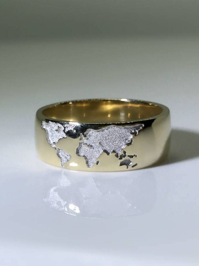 Captivating Our Newest Model   Gold Ring With World Map. Perfect Present For Those Who  Like