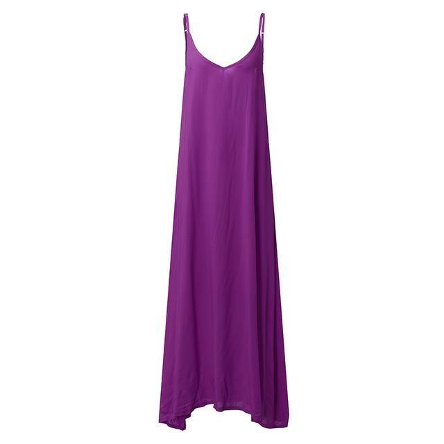 0b51838b6673 Summer Women Dress V Neck Sleeveless Thin Beach Dresses Casual Loose Long  Maxi Dress