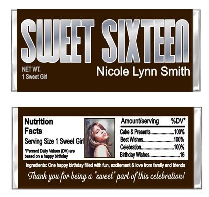 Sweet Sixteen & YOUR PHOTO Candy Wrappers by CustomWrappers4U, $1.00