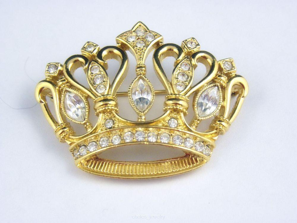 Vintage KJL Gold Tone Rhinestone Crown Brooch Pin Kenneth J Lane #KennethJayLane