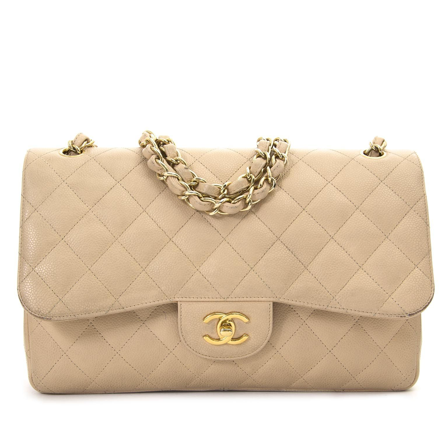 dc1380fd915d Chanel Jumbo Beige Double Classic Flap Bag Caviar GHW now for sale at Labellov  vintage webshop. #chaneljumboflapbag
