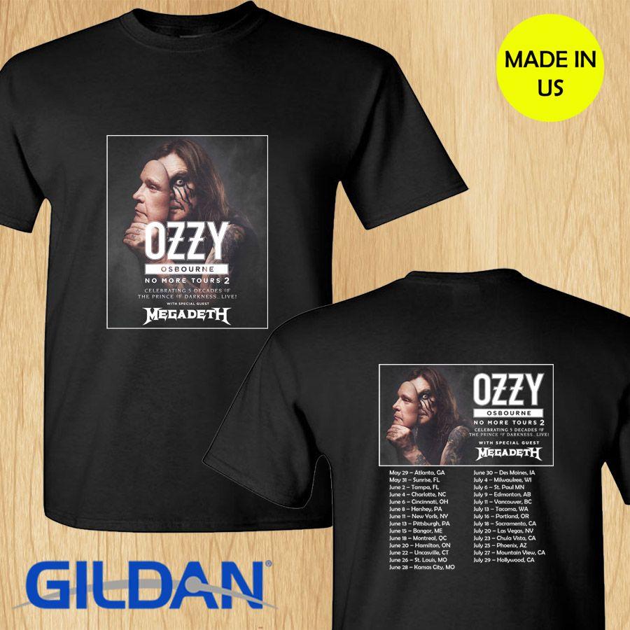 1a849cd9 Ozzy Osbourne + Megadeth No More Tour 2 concert 2019 black tees S-4XL