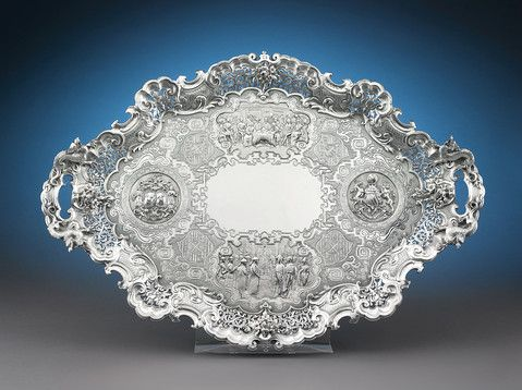 This impeccable Victorian silver presentation tray honors the Treaty of Nanking, Hallmarked London, 1845. ~ M.S. Rau Antiques
