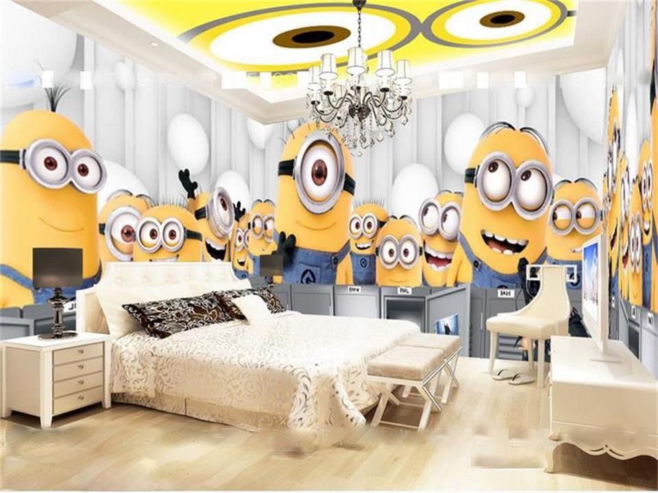 Custom Mural Photo 3d Wallpaper Kids Room Cartoon Minions Big Eyes Painting Sofa TV Background Non Woven For Wall Affiliate