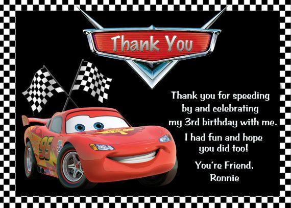Disney Cars Lightning Mcqueen Thank You Card Cars Birthday Invitations Pixar Cars Birthday Cars Invitation