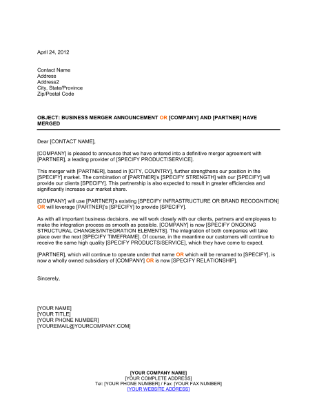 Announcement Of Business Merger Template Sle Form