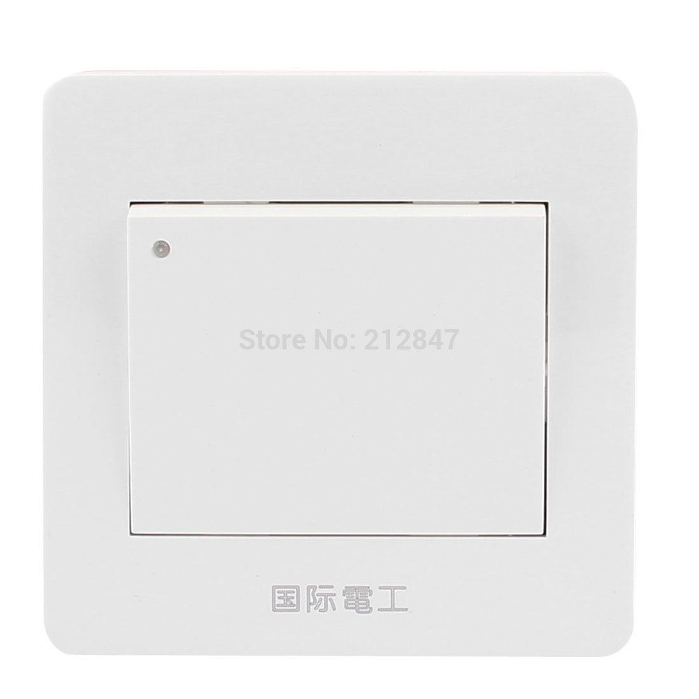 White On/Off Press Button Type 1 Gang Wall Mount Switch Plate AC ...