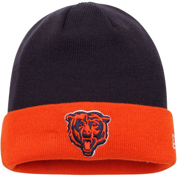 Men s Chicago Bears New Era Navy Orange 2-Tone Cuffed Knit Hat 81b9a8f1efe1