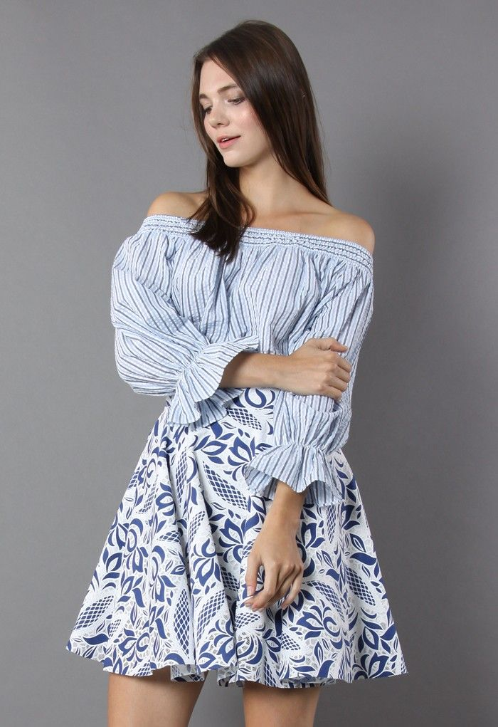 5d7c477e641758 Sometimes your daily style needs a chic shoulder to lean on! Get to it with  this striped off-the-shoulder top. Girly details like the cute bow on the  back ...