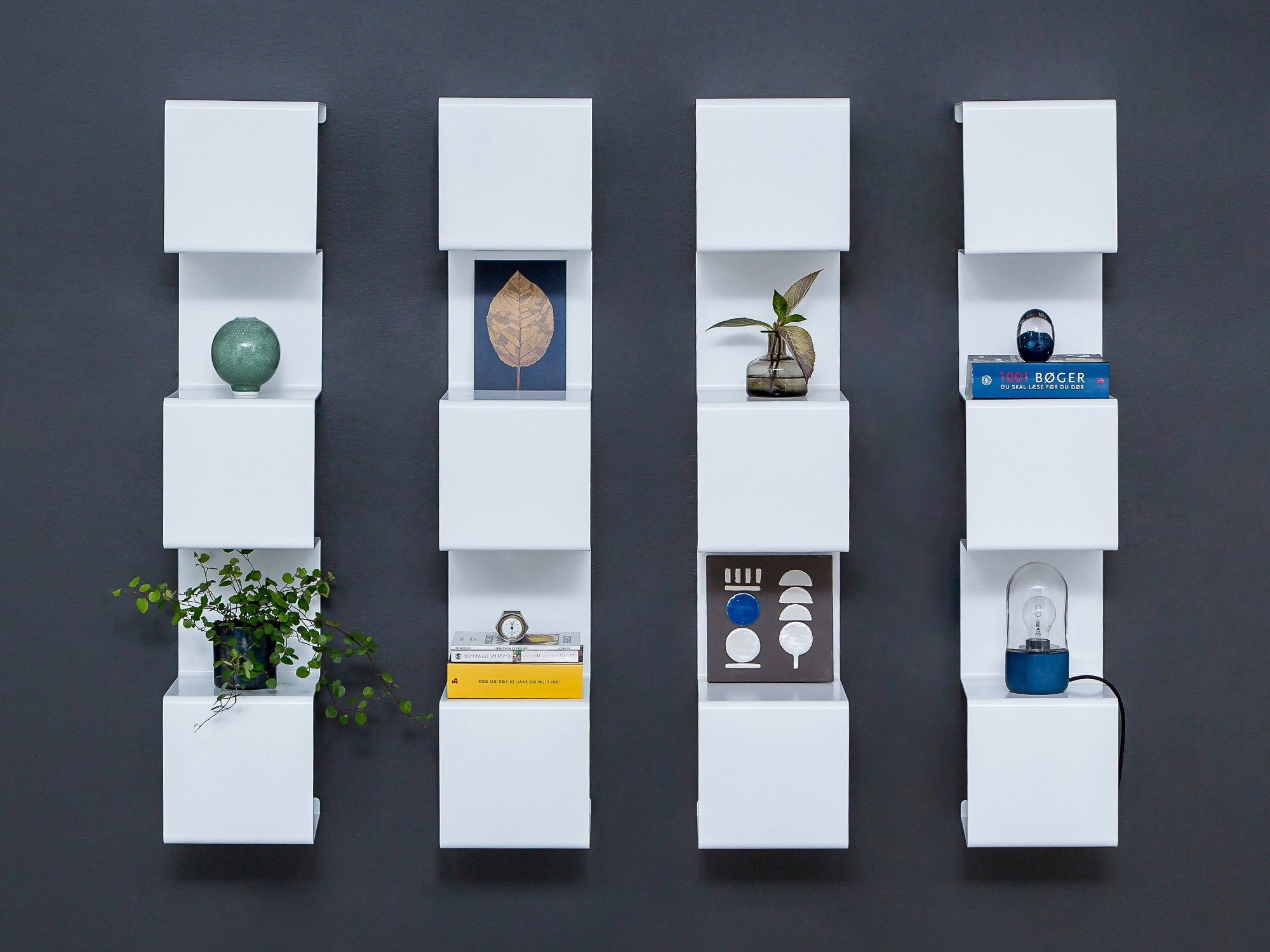 Wall Mounted Powder Coated Aluminium Bookcase Showcase 4 By Anne Linde Design Anne Linde Wall Shelves White Wall Shelves Bookcase Design