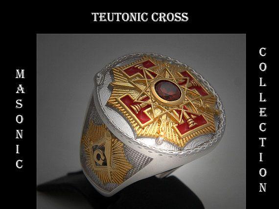 Custom Made Masonic Ring Red Stone 33rd Degree Freemason Sovereign