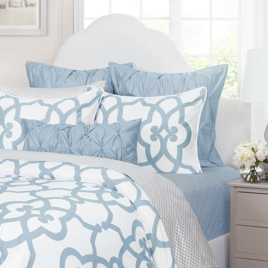 French Blue Wavelet Embroidered Sheets Crane Canopy Gray Duvet Cover Bed Decor Duvet Bedding