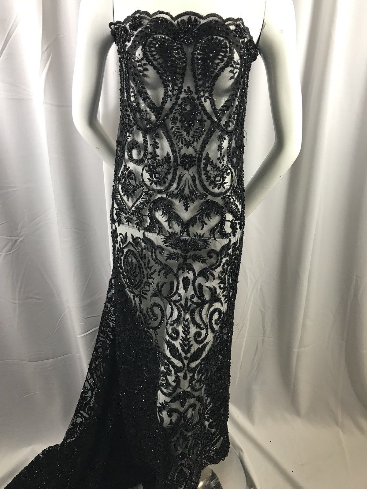 Lace fabric by the yard black mesh dress hand embroidered beaded