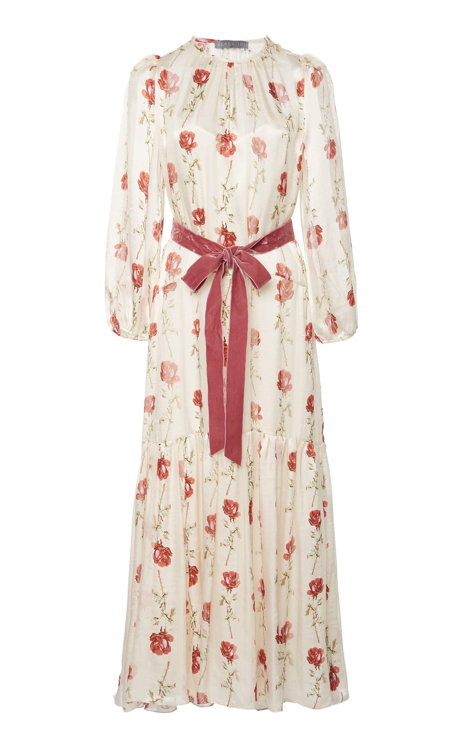 90d3a2207b003 Iris Rose Print Silk Chiffon Midi Dress in 2019   Playing Dress-Up ...