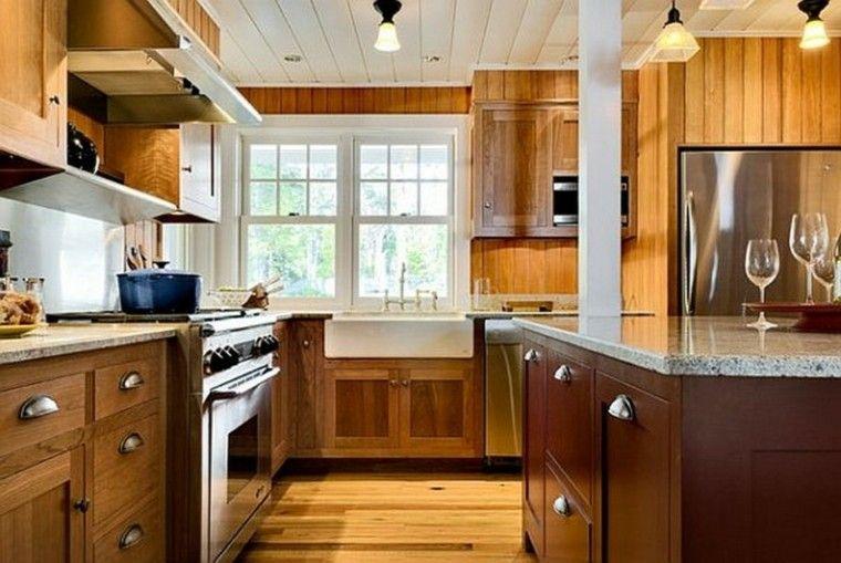 cocina madera encimera granito gris