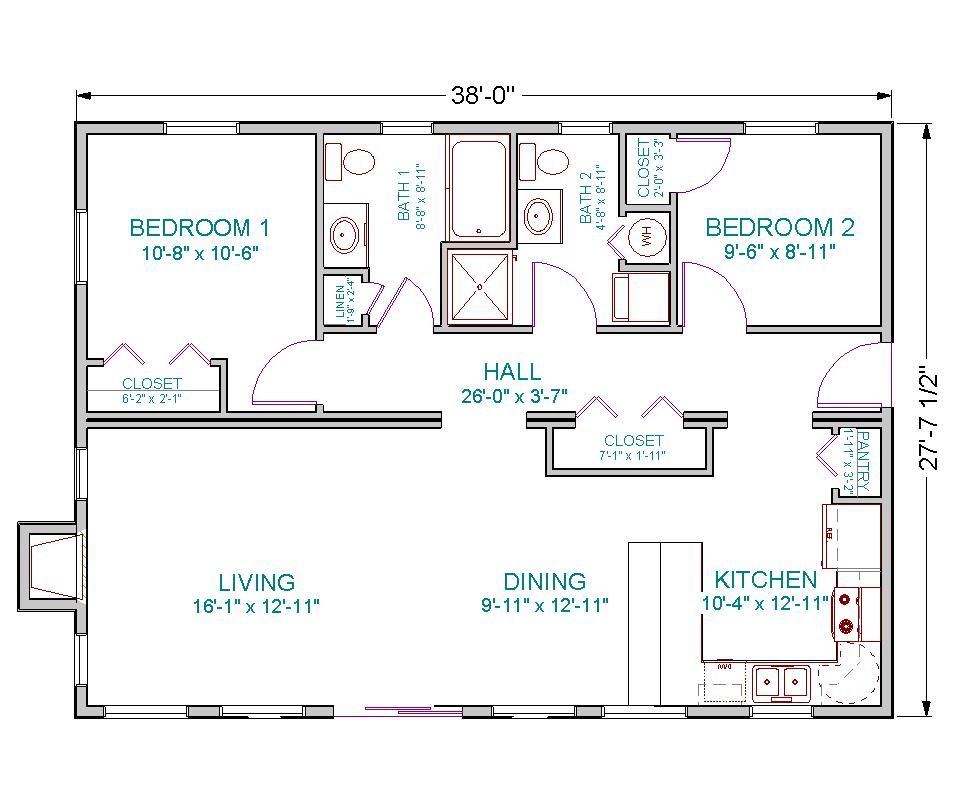 1100 Sq Ft House Plans 2 br 2 bath 24x40 open floor plan | a girl can dream | pinterest