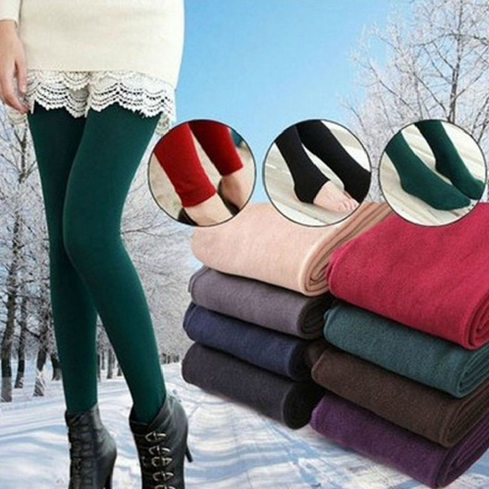 50464945828d4 Women's Solid New Winter Thick Warm Fleece Lined Thermal Stretchy Leggings  Pants #Unbranded