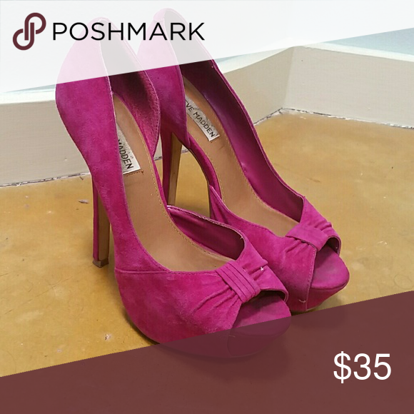 Steve Madden suede heels Magenta suede, platform, peep toe. Slight wear Steve Madden Shoes Platforms