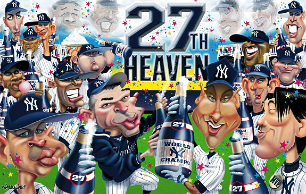 Cartoonist Ed Murawinski Turns His Artist S Eye And Sense Of Humor To The Yankees Roster With A Series Of Exclusive Posters I Yankees Ny Yankees Yankees Poster
