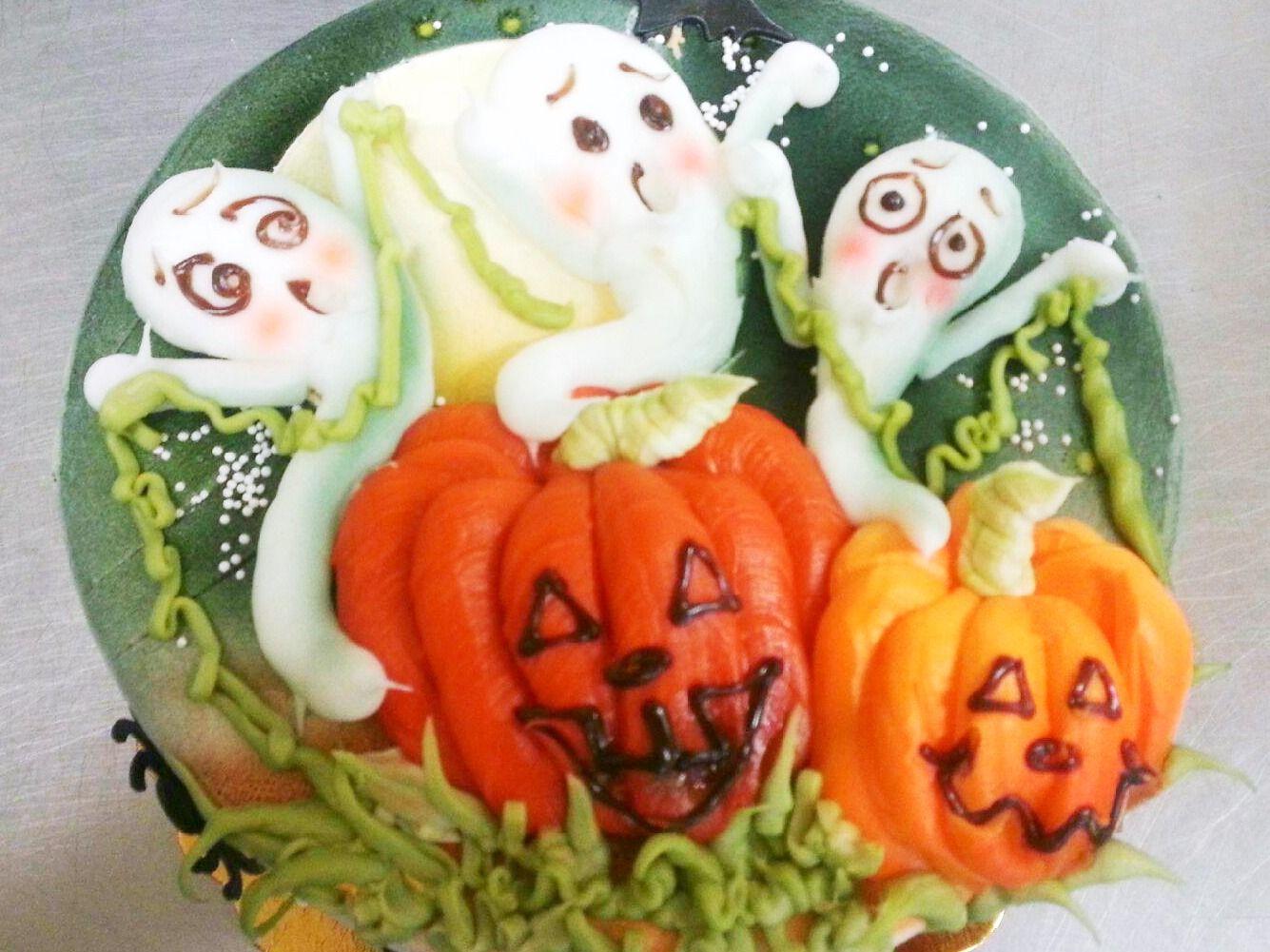 Ghost and pumpkin Halloween cake