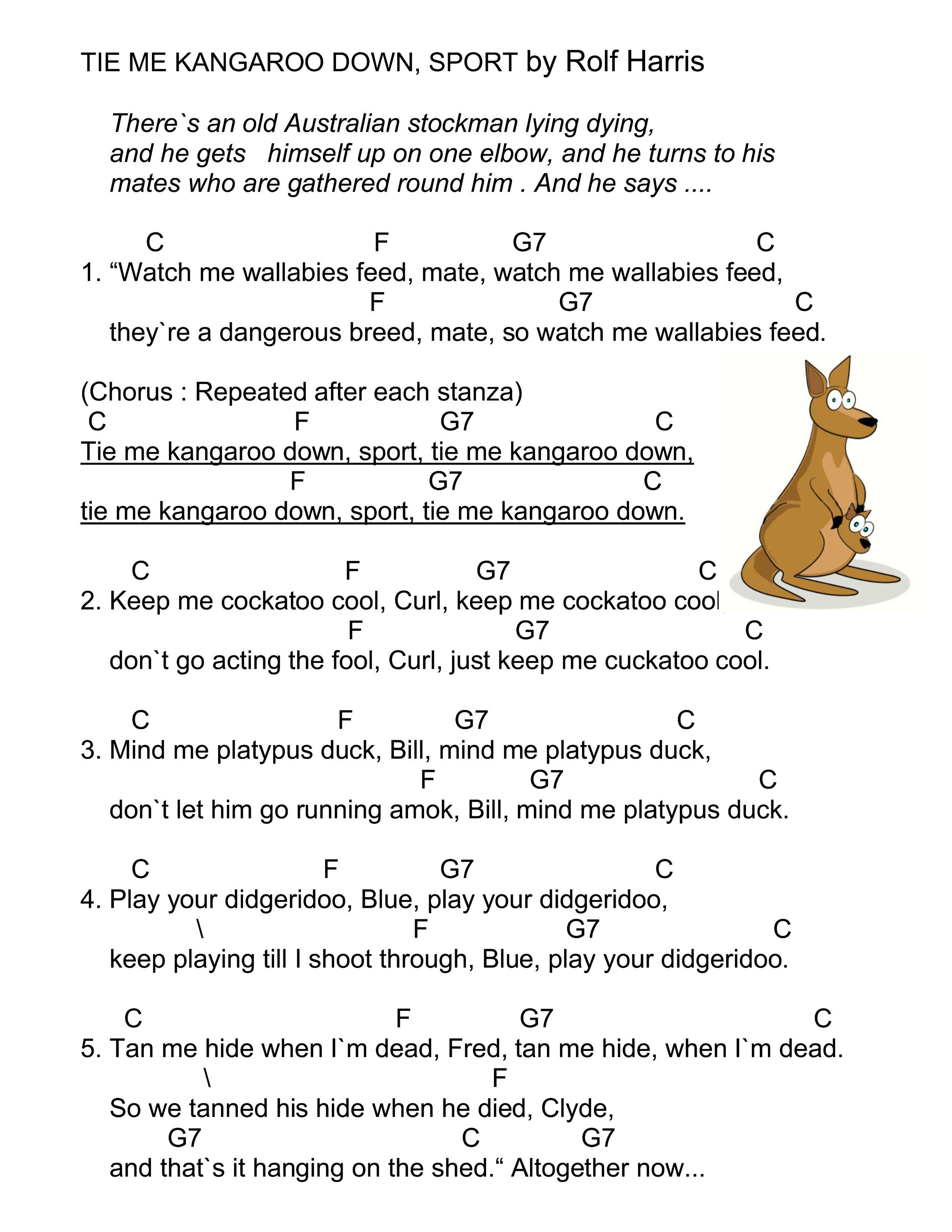 Tie me kangaroo down ukulele chords i have never heard of this tie me kangaroo down ukulele chords i have never heard of this song before but hexwebz Images
